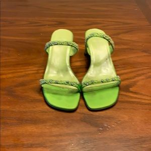 Lime green beaded sandals